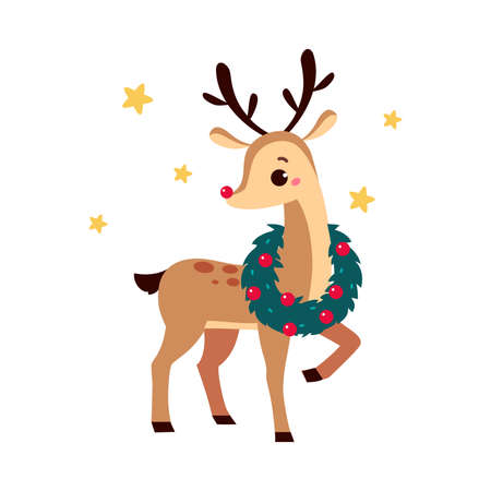 Cute Christmas Fawn with Wreath on the Neck, Merry Xmas and New Year, Happy Winter Holidays Concept Cartoon Style Vector Illustration