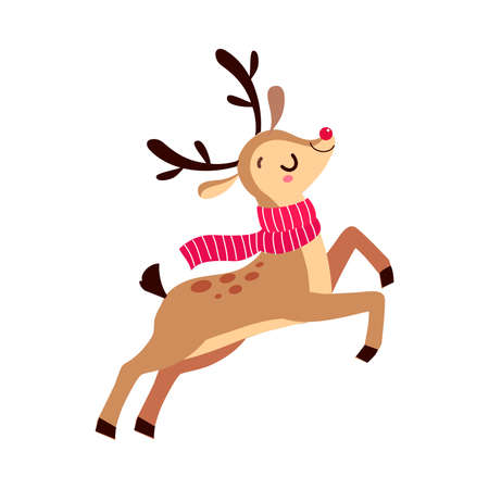 Cute Christmas Fawn Jumping with Red Waving Scarf, Merry Xmas and New Year, Happy Winter Holidays Concept Cartoon Style Vector Illustration