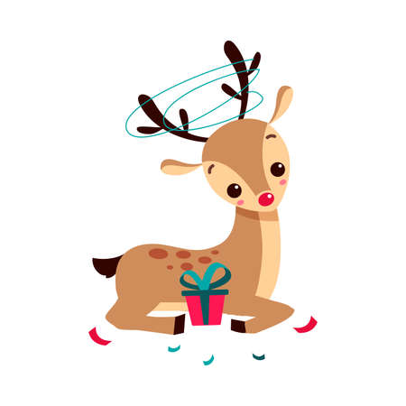 Adorable Christmas Fawn with Gift Box, Merry Xmas and New Year, Happy Winter Holidays Concept Cartoon Style Vector Illustration Stock Illustratie