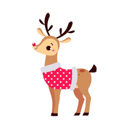 Adorable Christmas Fawn Character, Merry Xmas and New Year, Happy Winter Holidays Concept Cartoon Style Vector Illustration Stock Illustratie