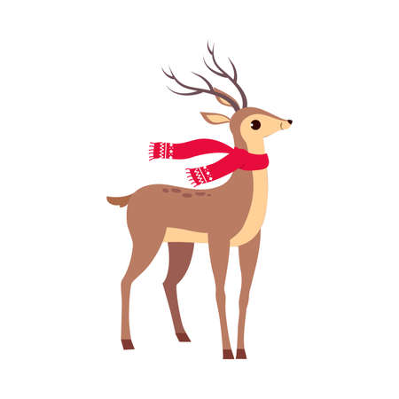 Beautiful Christmas Deer Wearing Red Scard, Merry Xmas and New Year, Happy Winter Holidays Concept Cartoon Style Vector Illustration