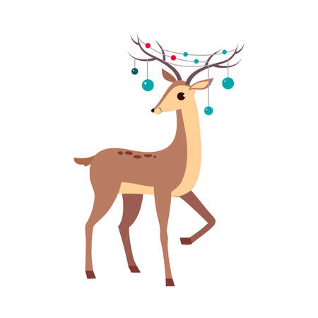 Beautiful Christmas Deer with Garland on its Antlers, Merry Xmas and New Year, Happy Winter Holidays Concept Cartoon Style Vector Illustration
