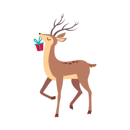 Beautiful Christmas Deer Carrying Gift Box in its Mouth, Merry Xmas and New Year, Happy Winter Holidays Concept Cartoon Style Vector Illustration