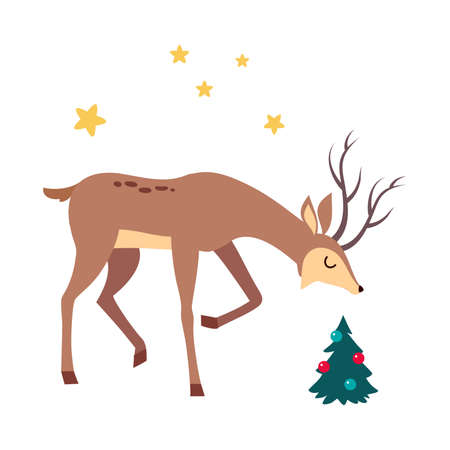 Beautiful Christmas Deer and Decorated Fir Tree, Merry Xmas and New Year, Happy Winter Holidays Concept Cartoon Style Vector Illustration
