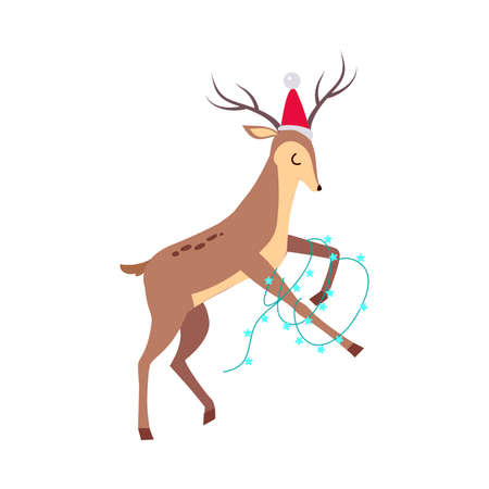 Beautiful Christmas Deer in Santa Hat with Garland, Merry Xmas and New Year, Happy Winter Holidays Concept Cartoon Style Vector Illustration