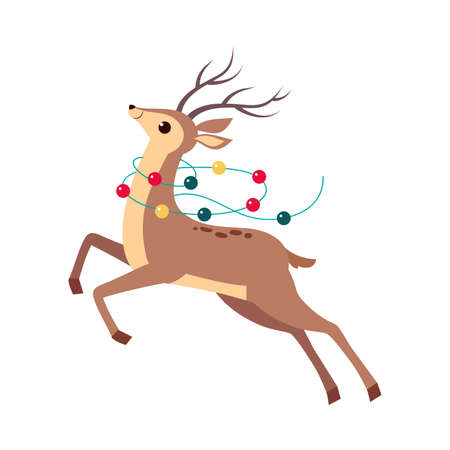Beautiful Christmas Deer Jumping Decorated with Garland, Merry Xmas and New Year, Happy Winter Holidays Concept Cartoon Style Vector Illustration