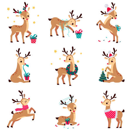 Adorable Cute Christmas Fawns Set, Merry Xmas and New Year, Happy Winter Holidays Concept Cartoon Style Vector Illustration