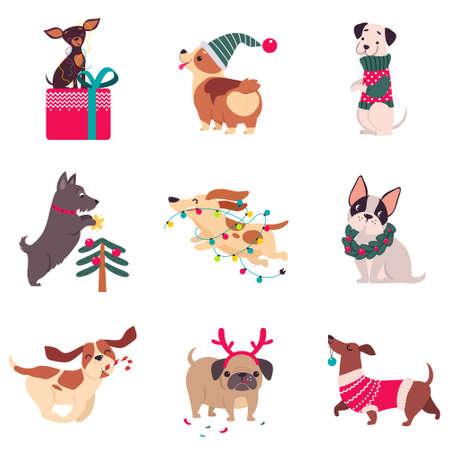 Funny Dogs with Christmas Symbols Set, Xmas and New Year, Happy Winter Holidays Concept Cartoon Style Vector Illustration