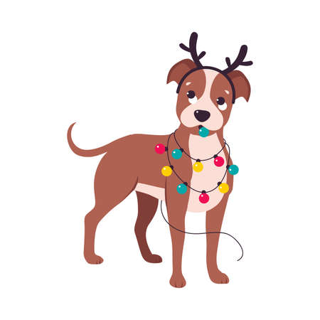 Cute Dog with Deer Antlers and Garland, Symbol of Xmas and New Year, Happy Winter Holidays Concept Cartoon Style Vector Illustration Stock Illustratie