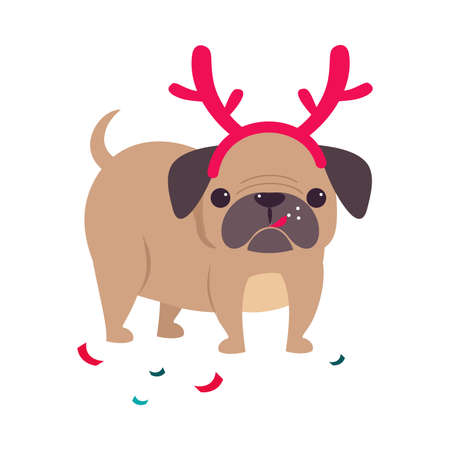 Cute Pug Dog with Deer Antlers, Symbol of Xmas and New Year, Happy Winter Holidays Concept Cartoon Style Vector Illustration Stock Illustratie