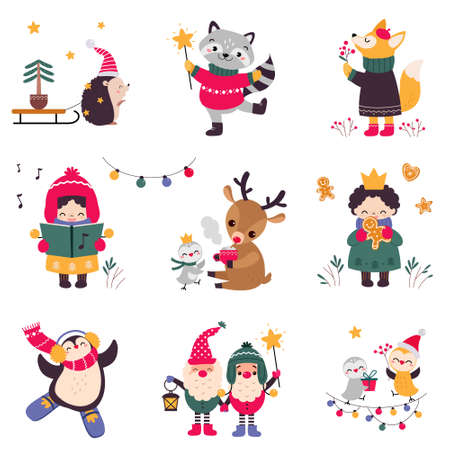 Xmas Animals Cartoon Characters Collection, Merry Christmas and Happy New Year Holidays Vector Illustration