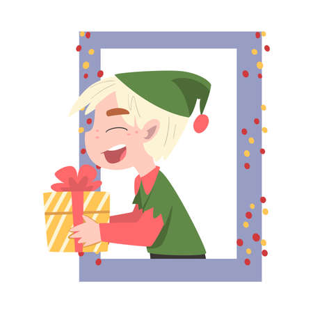 Boy in Christmas Elf Hat Looking out of the Window, Kid Giving or Receiving Gift Box, Merry Xmas and New Year, Happy Winter Holidays Concept Vector Illustration