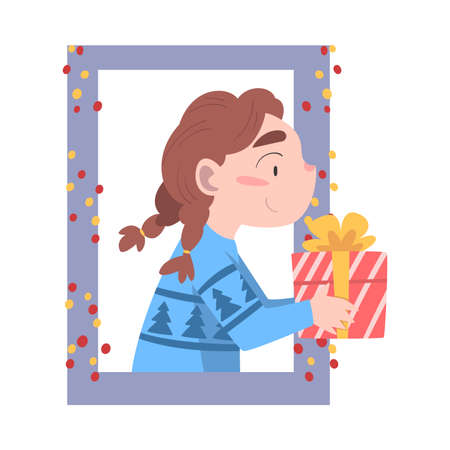 Cute Girl Looking out of the Window, Kid Giving or Receiving Christmas Gift, Merry Xmas and New Year, Happy Winter Holidays Concept Vector Illustration