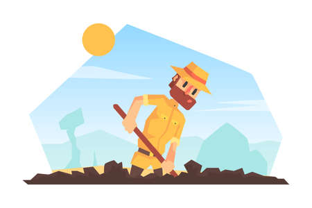 Man Archeologist Digging Soil, Scientist Character During Archeological Excavations Cartoon Vector Illustration