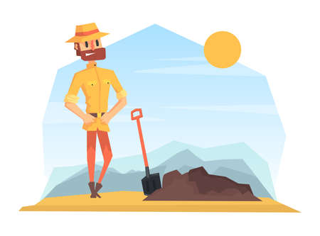Man Archeologist Digging Soil, Scientist Character Working on Archeological Excavations Cartoon Vector Illustration