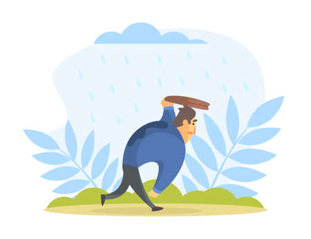 Businessman Running under the Rain in the Street Covering his Head with Briefcase Cartoon Vector Illustration