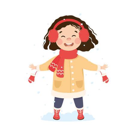 Cute Girl Walking and Enjoying Winter Holiday Vector Illustration