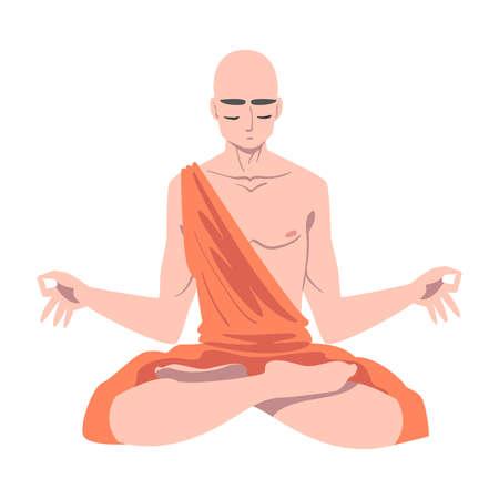 Buddhist Monk in Saffron Robe Sitting in Padmasana Vector Illustration
