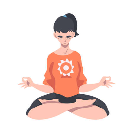 Meditative Female Engaged in Pranayama Practice Sitting in Lotus Position Vector Illustration Vektorové ilustrace
