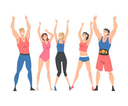 Group of Athletic People Characters in Sportswear Standing Together with Raising Hands Vector Illustration Vector Illustratie