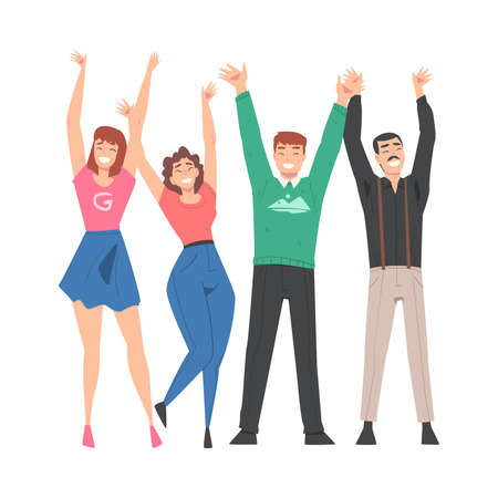 Group of People Characters Standing Together with Raising Hands Vector Illustration