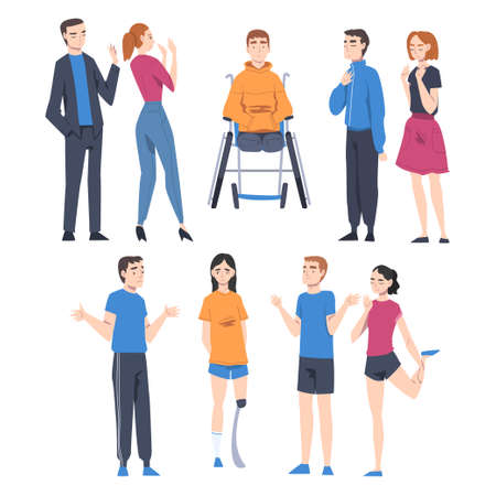 People Character with Disabilities Applying for Jobs and Rejected by Employer Vector Illustration Set