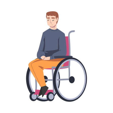 Handicapped Young Man in Wheelchair Feeling Sad Vector Illustration