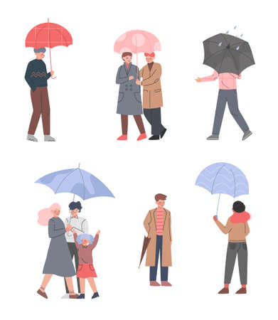 Male and Female with Umbrellas Enjoying Walk in the Rainy Day Vector Illustration Set
