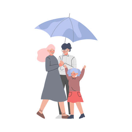 Young Family and Little Kid with Umbrella Enjoying Walk in the Rainy Day Vector Illustration