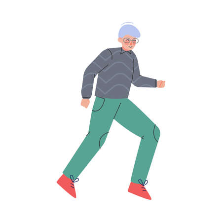 Enthusiastic Man Character Running in a Hurry and Hasten Somewhere Vector Illustration
