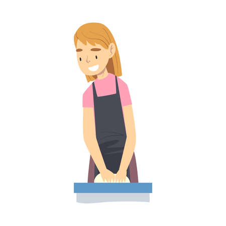 Smiling Girl in Apron Cooking in the Kitchen, Child Kneading Dough Cartoon Style Vector Illustration