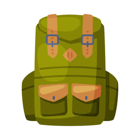 Green Backpack, Front View of Camping Knapsack Flat Vector Illustration on White Background