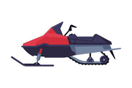 Snowmobile, Winter Extreme Sport Equipment Flat Vector Illustration