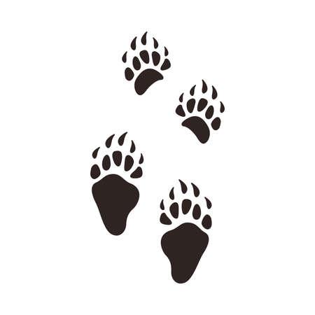 Bear Footprints, Animal Paw Silhouette Flat Vector Illustration