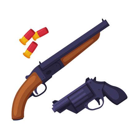 Weapon Set, Shotgun, Gun and Bullets, Hunting Tackles and Equipment Flat Style Vector Illustration Vecteurs