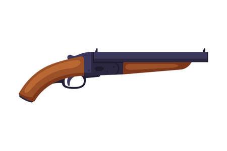 Shotgun, Hunting Tackles and Equipment Flat Style Vector Illustration