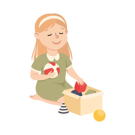 Cute Girl Cleaning Up His Toys, Kid Helping her Parents with Housework or Doing Household Chores Cartoon Style Vector Illustration