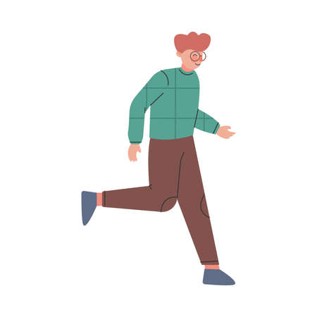 Young Male Trotting and Running Ahead in a Hurry Vector Illustration