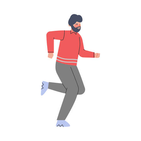 Young Bearded Male Trotting and Running Ahead in a Hurry Vector Illustration