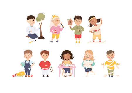 Little Boy and Girl Planting Tree, Breaking Vase, Playing with Toilet Paper and Doing Physical Exercise Vector Set 矢量图像