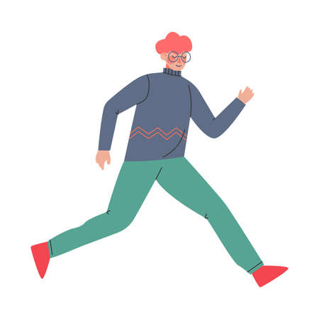 Young Male in Glasses Trotting and Running Ahead in a Hurry Vector Illustration