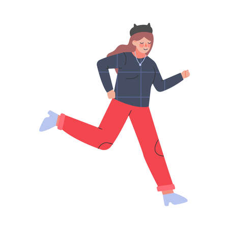 Young Female Trotting and Running Ahead in a Hurry Vector Illustration