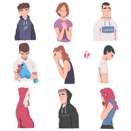Tearful Male and Female Suffering Because of Lost Love and Heartbreak Vector Illustration Set