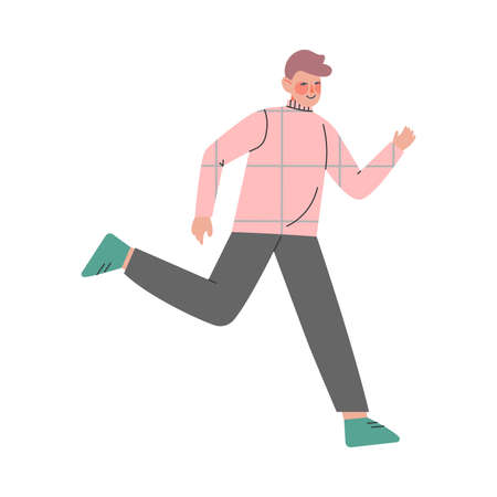 Flushed Man Character Running in a Hurry and Hasten Somewhere Vector Illustration