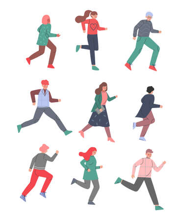 People Characters Running and Pushing Forward in a Hurry Vector Illustration Set