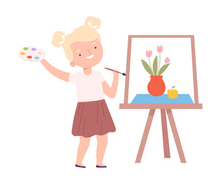 Smiling Blonde Girl Painting on Canvas with Palette and Brush, Little Artist Character Drawing on Easel with Paints Cartoon Style Vector Illustration