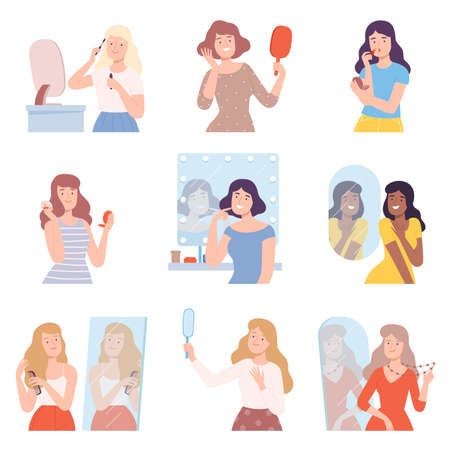 Young Women Doing Makeup Set, Girls Applying Mascara, Lipstick, Make Up Powder on their Faces Cartoon Style Vector Illustration