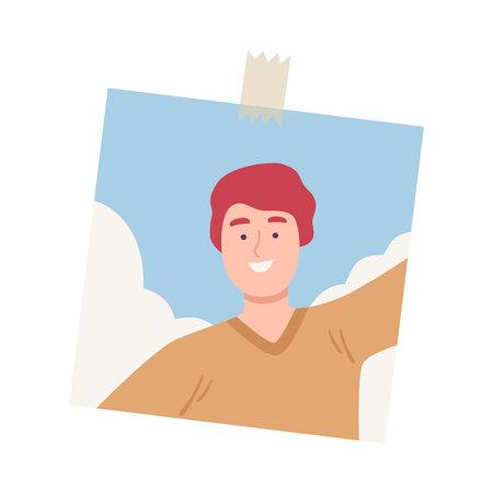 Shot of Smiling Young Man Taking Selfie Using Smartphone Cartoon Vector Illustration