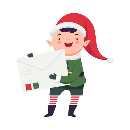 Fairy Elf in Red Hat and Striped Stocking Holding Big Envelope Vector Illustration