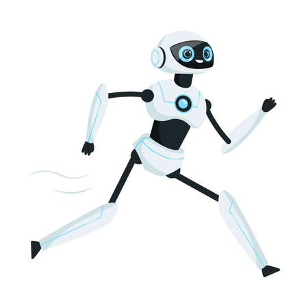 Running Humanoid or Robotic Device with Iron Limbs Vector Illustration